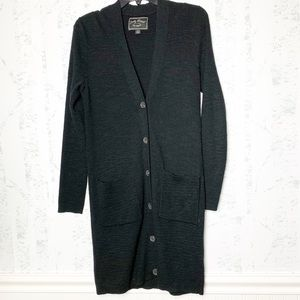 Lucky Brand Long Black Knit Button Cardigan.